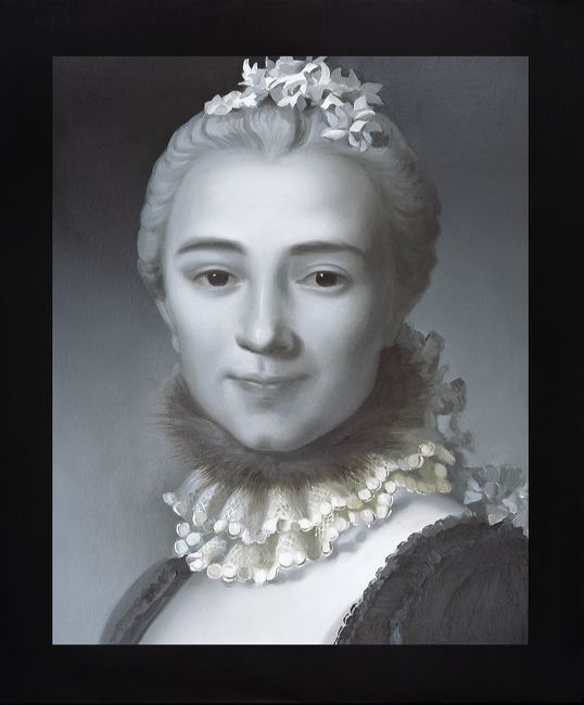 WAT 034 Mary A Waters  French Woman Fur and Lace Neckpiece, 2010  oil on linen cm 60 x 50
