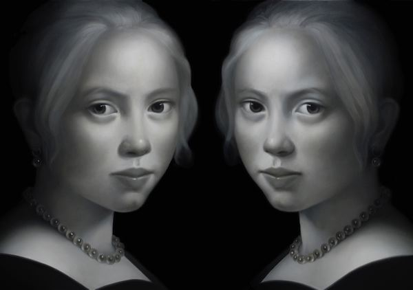 WAT 055 Mary A Waters   Girl Mirrored, 2012  oil on linen ditpych cm 200x300