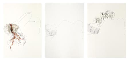 Untiled 017, 2001  triptych, mixed media on paper, 50x35 cm