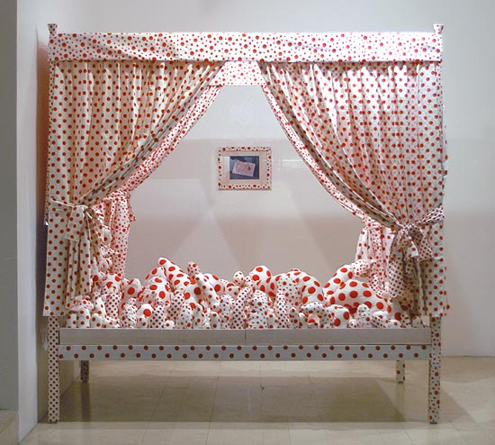 """Bed - Dots Obsession"", 2002  mixed media  cm 231 x 138 x 228"