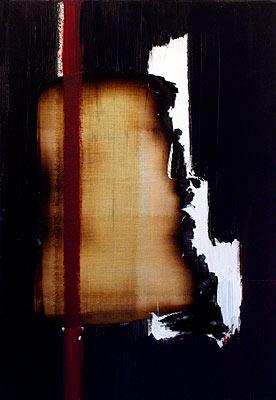 Return 1, 2003  Oil, acrylic and burnt linen on canvas  55 x 38 cm