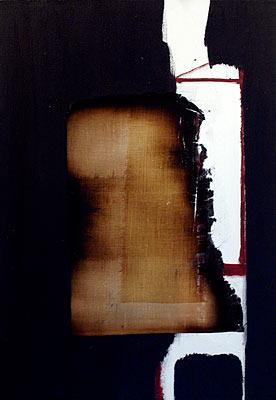 Return 2, 2003  Oil, acrylic and burnt linen on canvas  55 x 38 cm