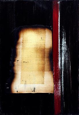 Return 3, 2003  Oil, acrylic and burnt linen on canvas  55 x 38 cm