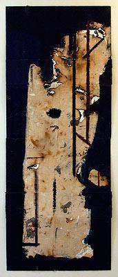 Spirit Marker 10, 2003  Oil, acrylic and burnt linen on canvas  215 x 110 cm