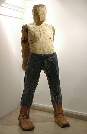 """""""Gardien 2"""" 2004  Picea, douglas and lead 235 x 110 x 60 cm"""