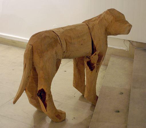 """Chien Regardant Dehors"" 2004  Cedar 95 x 50 x 125 cm"