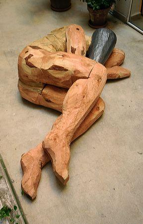 """Solitude 2"" 2004  Pine, douglas and lead 60 x 120 x 200 cm"