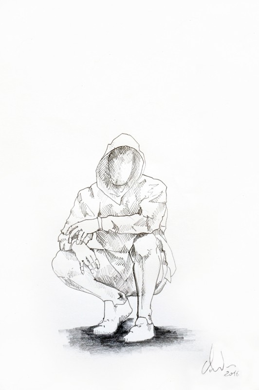 Cyrille AndréDrawing Témoin, 2016 Pencil on paper cm 29,5 x 20,5 (CA 117)