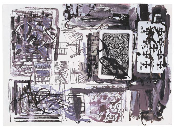 Olaf MetzelSchlechte Karten (Kreuze 9), 1986cm 63 x 88Acrylic, marker, ink with playing card on paper(OM 016)