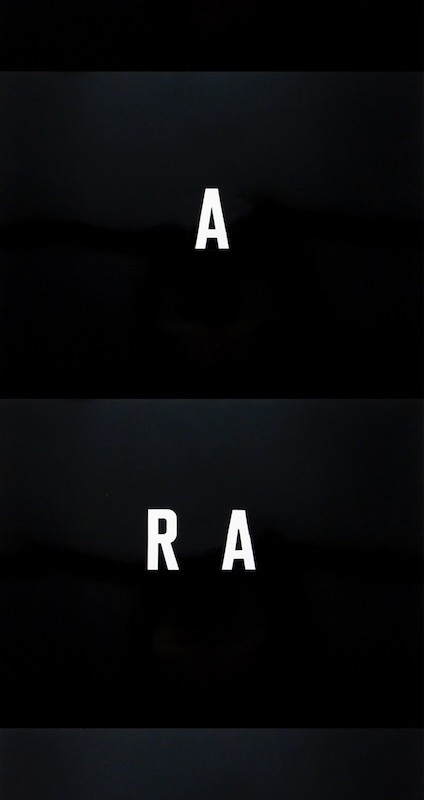 André du ColombierARARA, 1989Adhesive letters on glossy paperCM 200 x 65 (4 panels cm 50 x 65 each)(ADC 001)