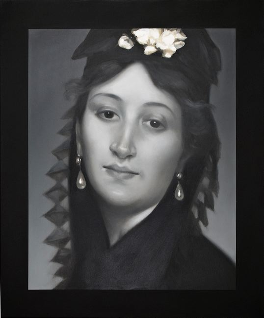 WAT 026 Mary A Waters  Woman, Hat with White Flower, 2010  oil on linen cm 60x50