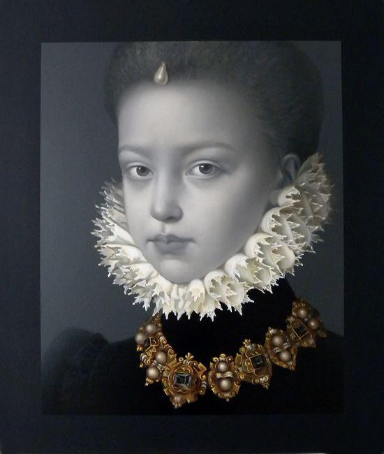 WAT 043 Mary A Waters  Portrait No 7 Infanta Gold Neck, 2011  oil on linen cm 95 x 80