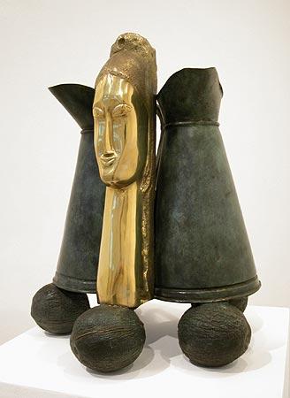 """"""" Untitled"""" (Modigliani head, 3 jars) 1998  1/3  bronze  cm 56 x 37 x 45"""