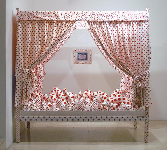 """Bed - Dots Obsession"", 2002  mixed media  cm 231 x 138 x 228"