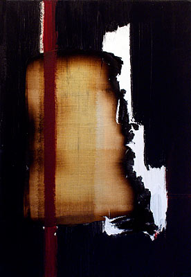 Return 1, 2003  Oil, acrylic and burnt linen on canvas  55 x 38 cm