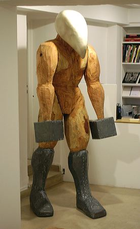 """Porteur"" 2004  Larch, lead and resin 235 x 100 x 90 cm"