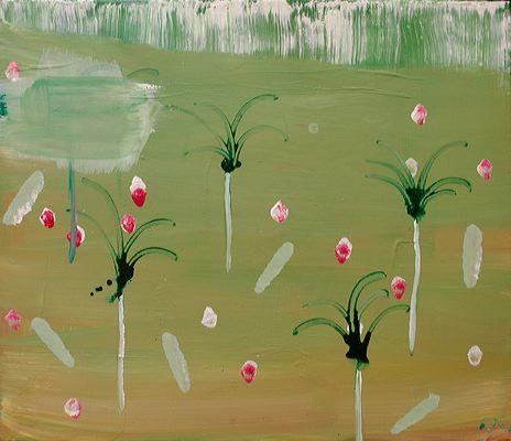 Indian Garden, 2005 (ROB 019)  Acrylic on canvas, 60 x 70 cm