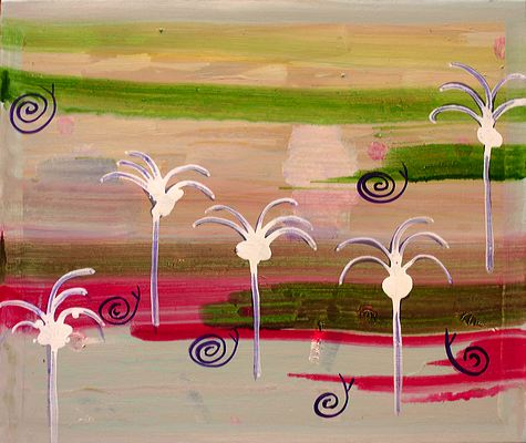 Indian Garden with Snails, 2005 (ROB 018) Acrylic on canvas, 60 x 70 cm