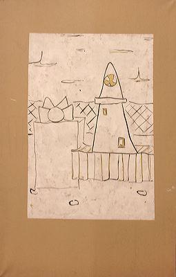 On the Line, 2003 (ROB 009)  Acrylic on canvas, 160 x 100 cm