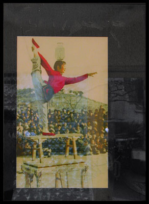 """""""Balance""""  Color Iris print on colored mat with broken glass, framed.  75x45.5 cm (image size)  104x76 (frame size)"""