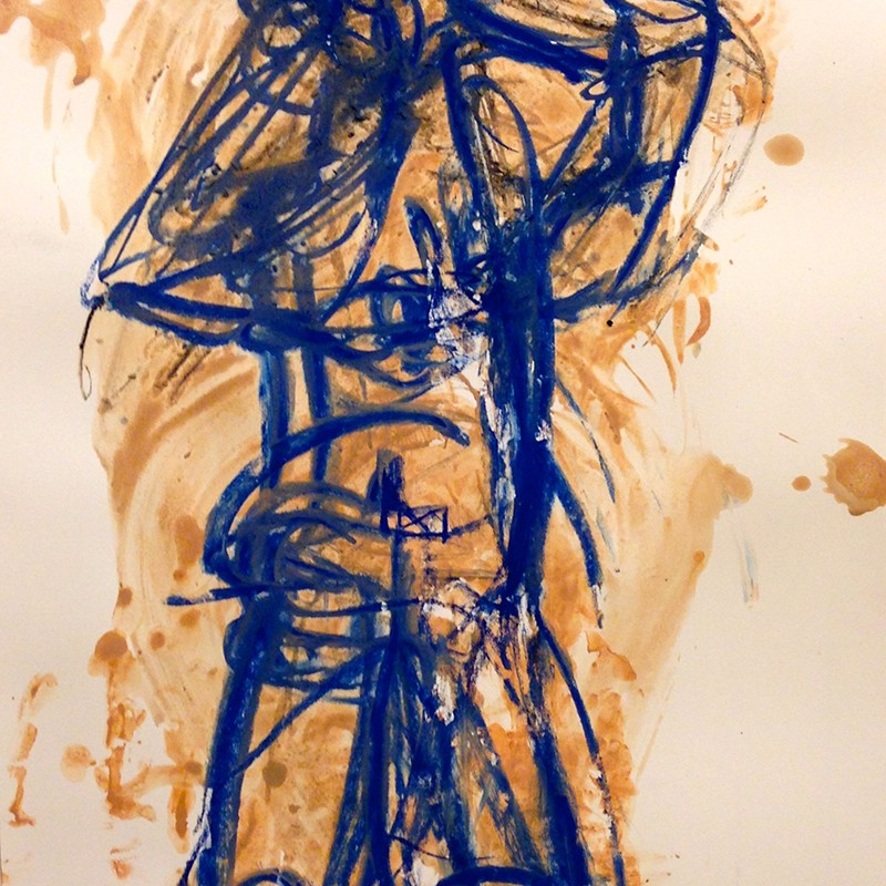 Claudia PiscitelliUntitled Blue, 2015cm 51,2 x 36,3charcoal,pastels, ink on paper(CPI 021)