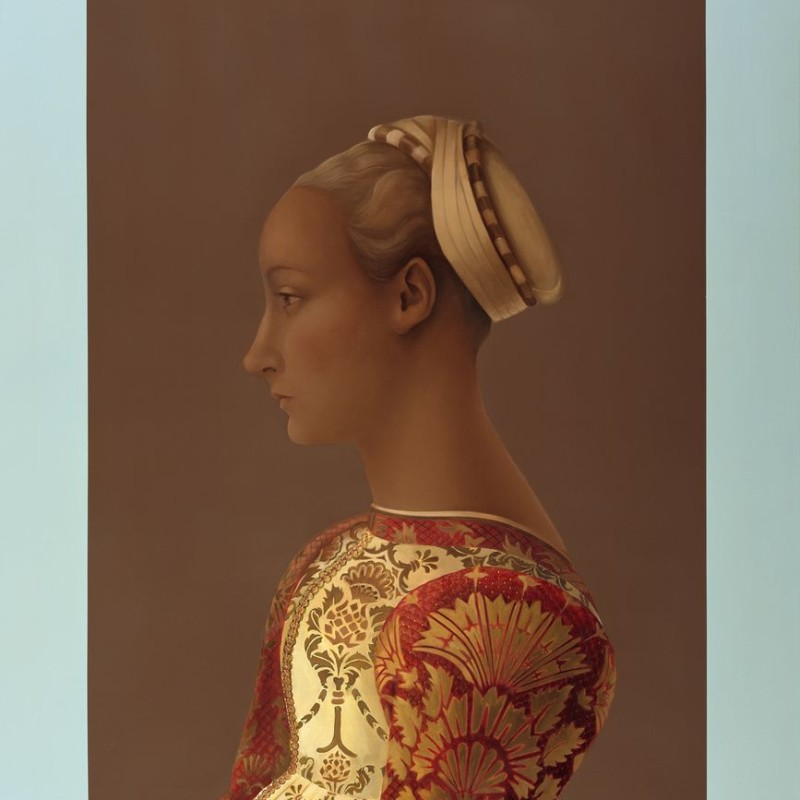 Mary A. Waters dark woman with turban and brocade dress 2014Oil on linen cm 145 x 125(wat 059)